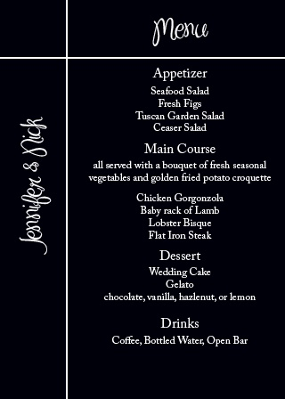 Pure Simple Lines Wedding Menu