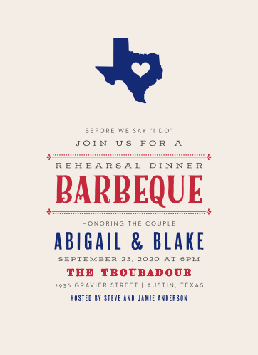 Texas Barbeque Rehearsal Dinner Invitations