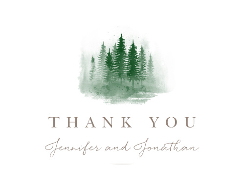 Watercolor Evergreens Vow Renewal Thank You Cards
