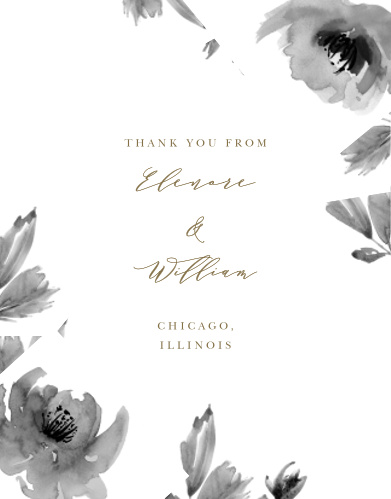 Watercolor Rose Vow Renewal Thank You Cards