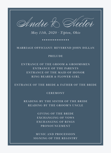 Buttoned Up Wedding Programs