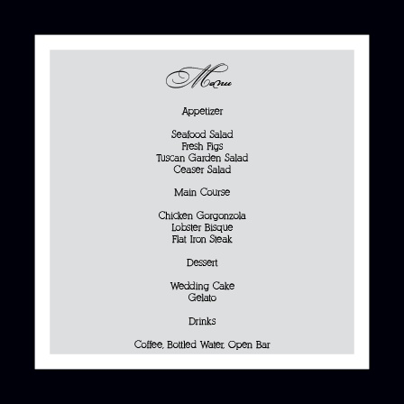 Simple Elegance Wedding Menu