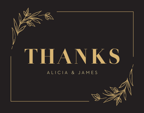 Gilded Leaves Wedding Thank You Cards