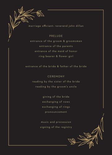 Gilded Leaves Wedding Programs