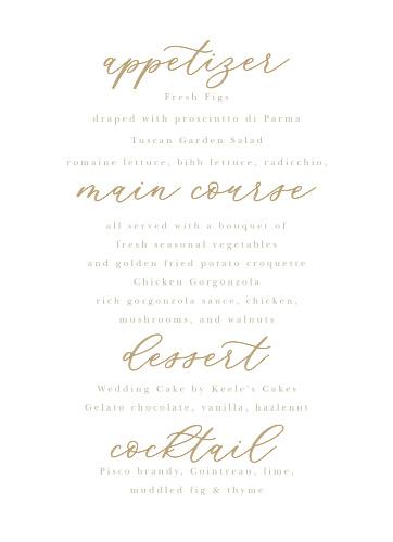 Oversize Script Wedding Menus