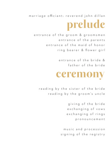 Bold Date Wedding Programs