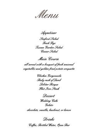 Simple Luxury Wedding Menu