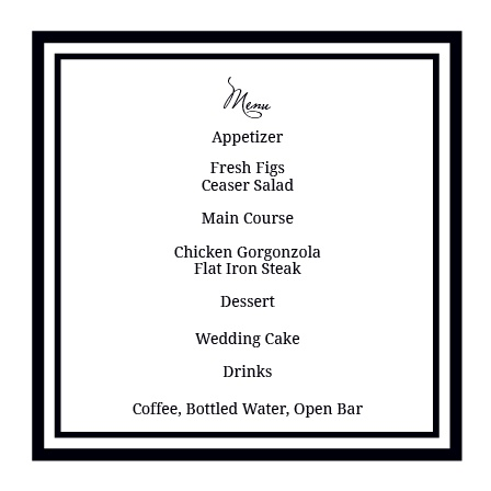 Formal Photo Wedding Menu