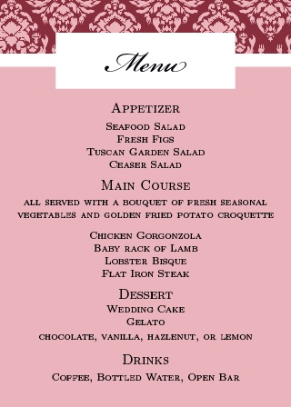 The Completely Centered Wedding Menu