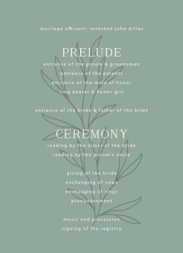 Leafy Label Wedding Programs