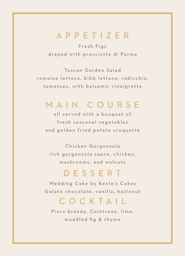 Minimal Block Wedding Menus
