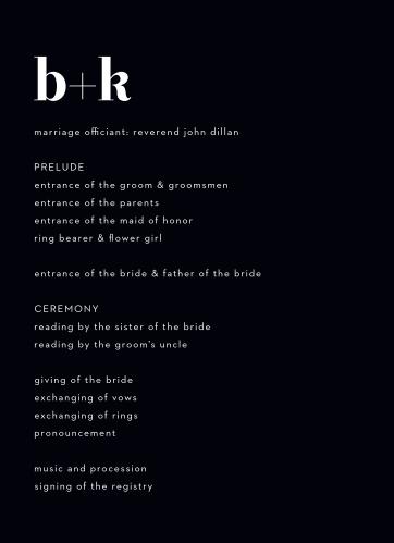 Chic Editorial Wedding Programs