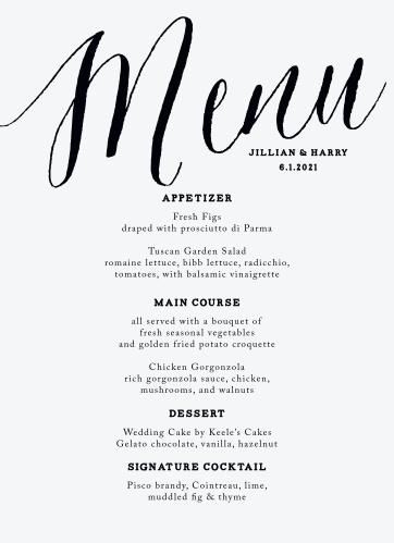 MaeMae's Jett Wedding Menus