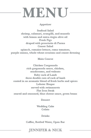 Sophisticated Photo Wedding Menu
