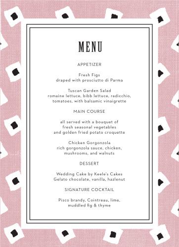 MaeMae's Billingsworth Wedding Menus