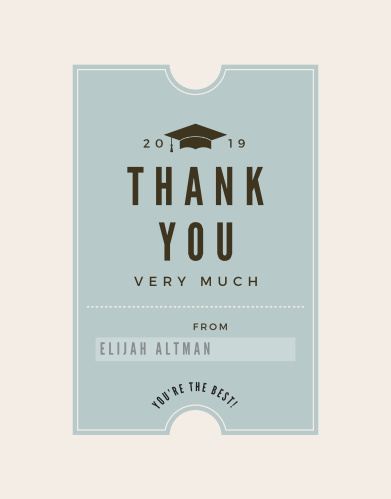 Farewell Ticket Graduation Thank You Cards