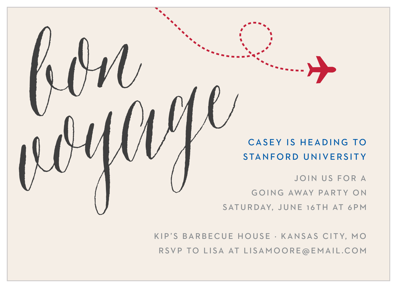 Bon Voyage Graduation Invitations by Basic Invite
