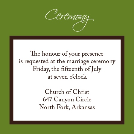 The Initials Square Ceremony Cards