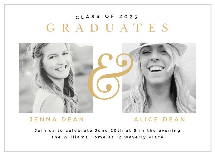 Black and Gold Three Photo Graduation Invitation Printable or Printed Gold Foil Look Monogram Photo Collage Graduation Party Invitation