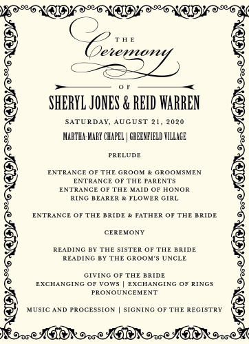 MaeMae's Ronnie Wedding Programs