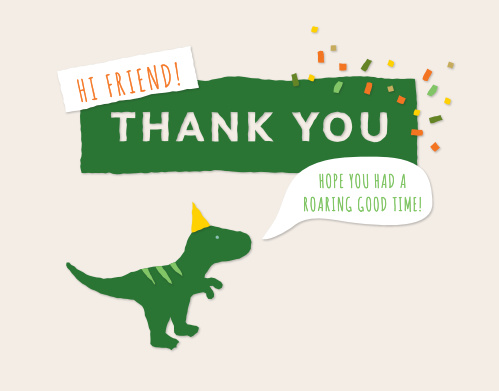 Dinosaur Bash Baby Shower Thank You Cards
