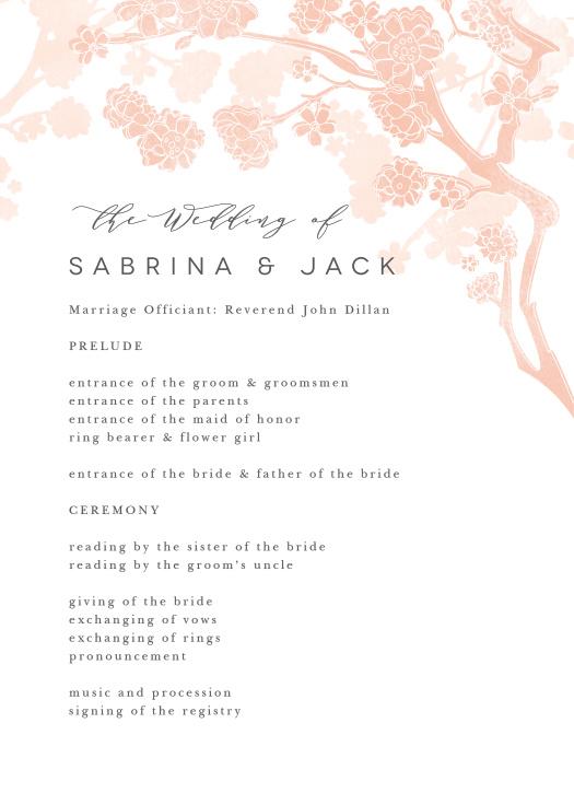 Tree Blossoms Wedding Programs