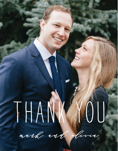 Big Type Wedding Thank You Cards