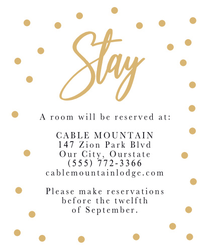 Golden Excitement Accommodation Cards