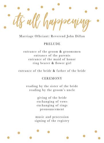 Golden Excitement Wedding Programs
