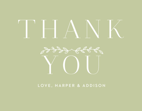 Leafy Accents Wedding Thank You Cards