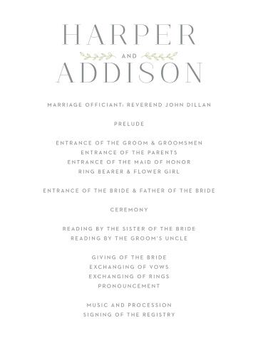 Leafy Accents Wedding Programs