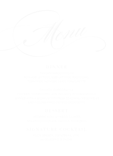 Swirling Simplicity Clear Wedding Menus