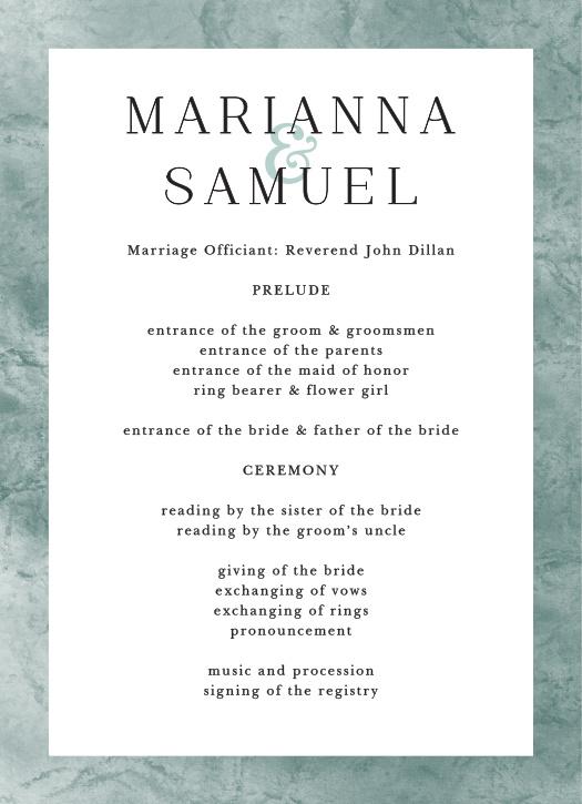 Formal Ticket Wedding Programs
