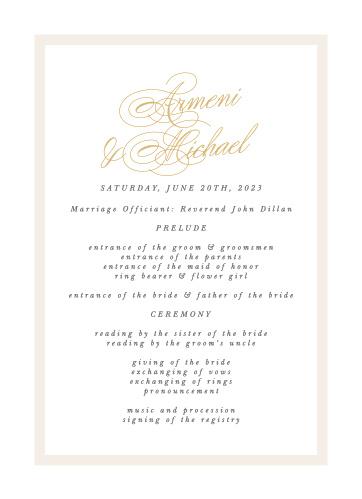 Simple Border Wedding Programs