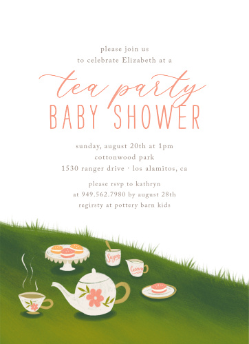 Tea Party Baby Shower Invitations Match Your Color Style Free