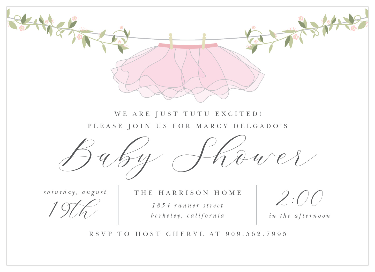 Tutu Excited Baby Shower Invitations By Basic Invite