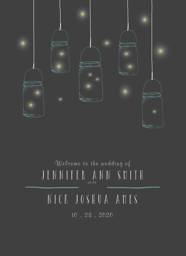 Mason Jars & Fireflies Wedding Programs