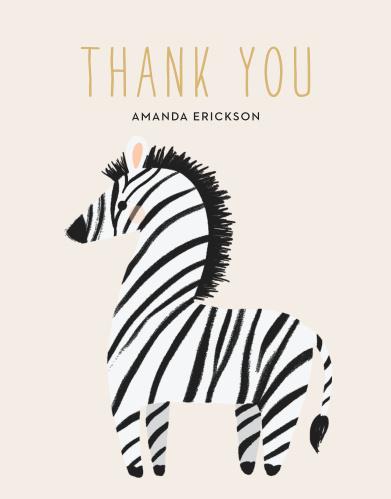 Zebra Shower Baby Shower Thank You Cards