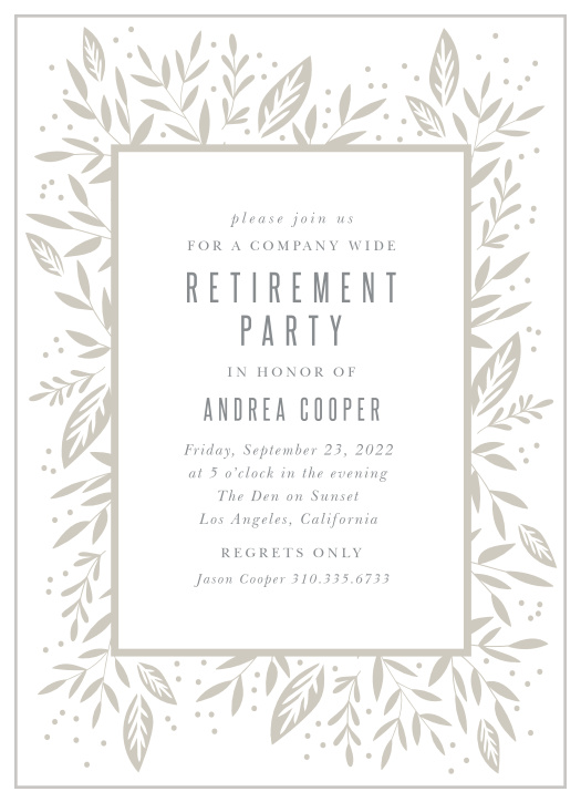 Retirement Invitations Cards Match Your Color Style Free