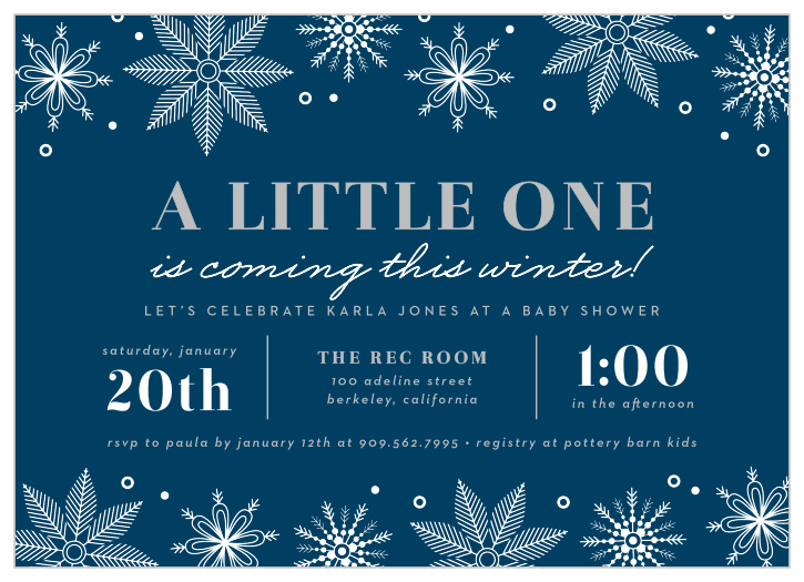Snowflake Baby Shower Invitations Match Your Color Style