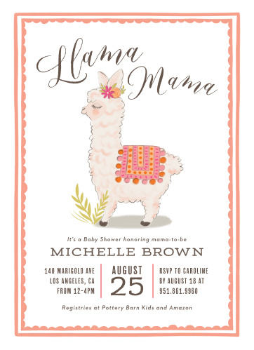 Llama Baby Shower Invitations Match Your Color Style Free