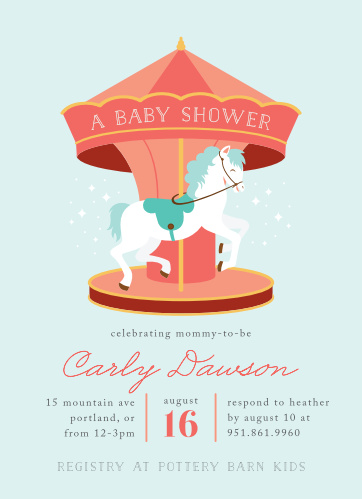 Carousel Baby Shower Invitations - Match Your Color & Style Free!