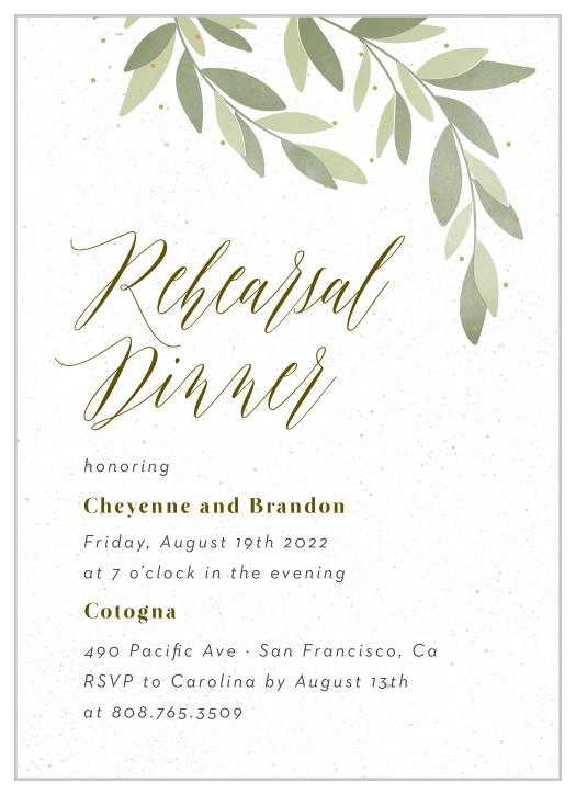 Rehearsal Dinner Invitations Match Your Color & Style Free