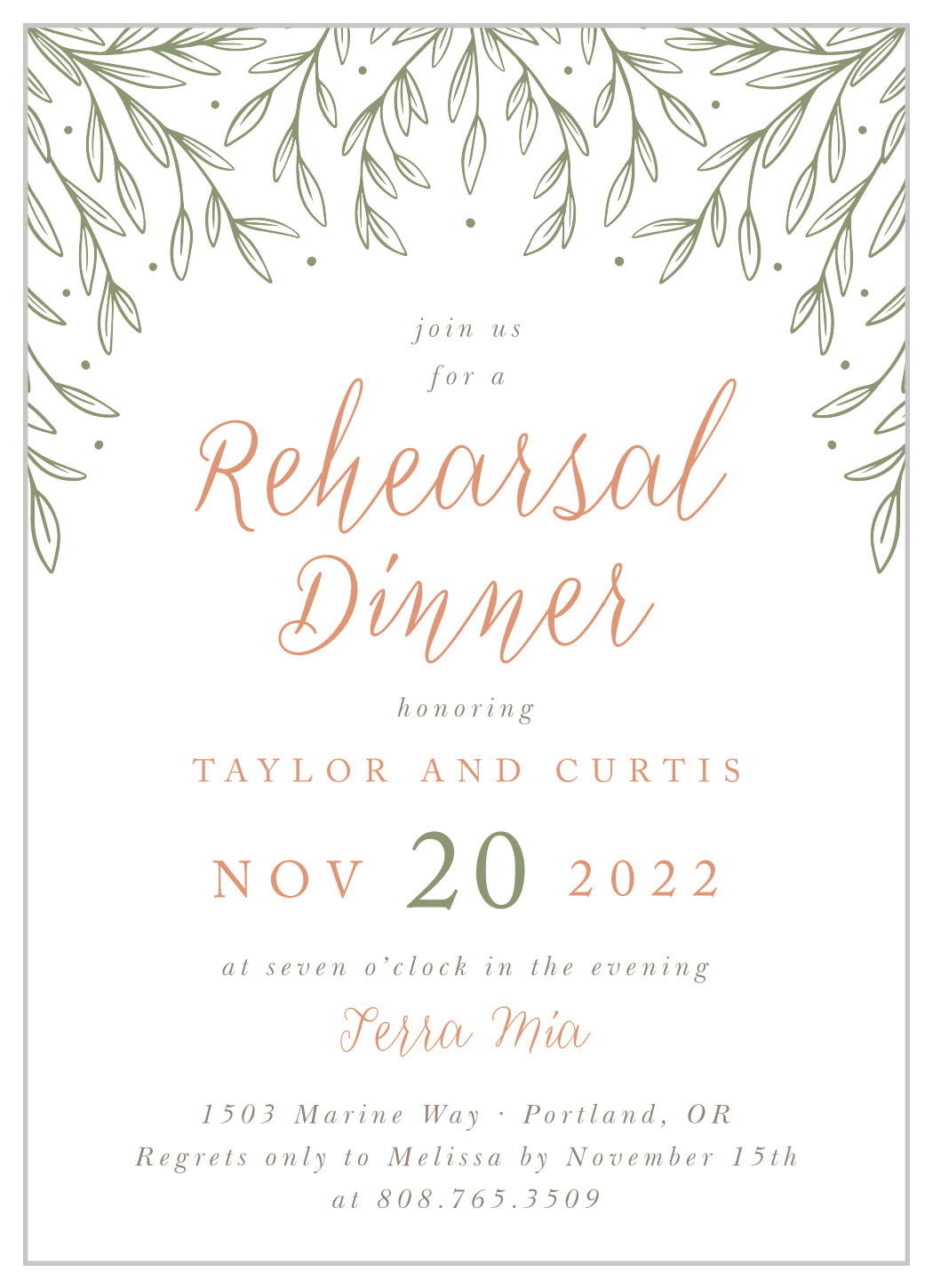 Olive Sprigs Rehearsal Dinner Invitations