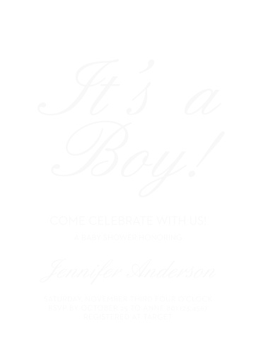 Royal Script Boy Baby Shower Mad Libs by Basic Invite