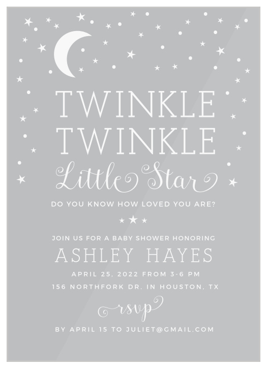 photograph regarding Free Printable Twinkle Twinkle Little Star Baby Shower Invitations identify Twinkle Twinkle Minor Star Youngster Shower Invites - Recreation