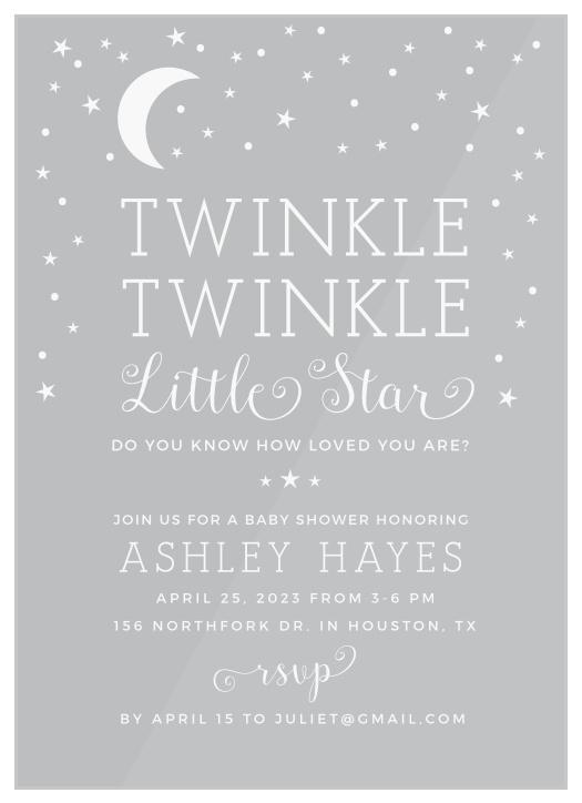 photograph regarding Free Printable Twinkle Twinkle Little Star Baby Shower Invitations identify Twinkle Twinkle Minor Star Youngster Shower Invites - Recreation