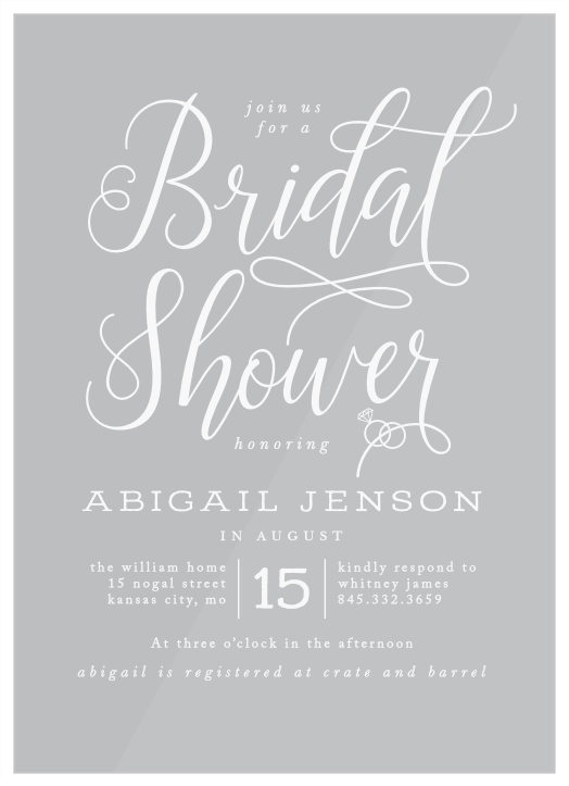 Our Gilded Bling Clear Bridal Shower Invitations are playful and casual!