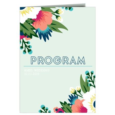 Tropical Flower Wedding Program