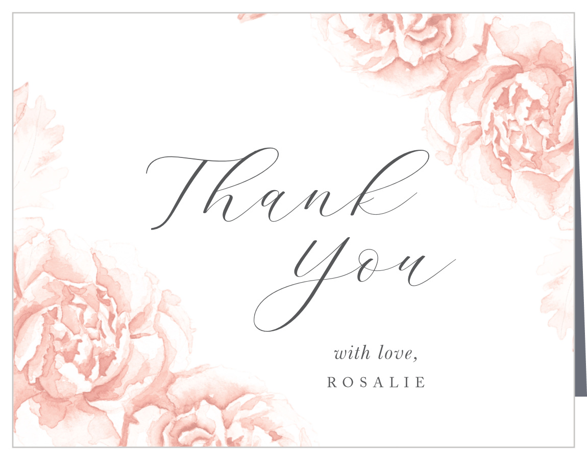 Bridal shower THANK YOU cards wedding cranberry